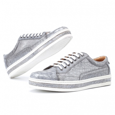 Alligator Leather Lace Up Sneakers for Men-Gray-Display