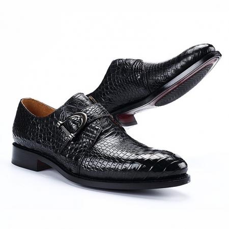 Alligator Leather Single Monk Strap Dress Shoes Oxford Formal Business Shoes-Black-1