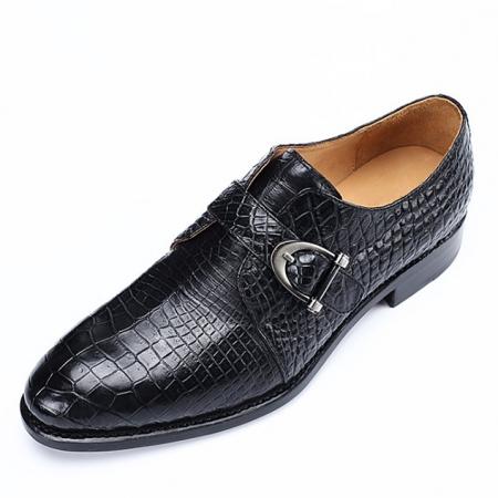 Alligator Leather Single Monk Strap Dress Shoes Oxford Formal Business Shoes-Black