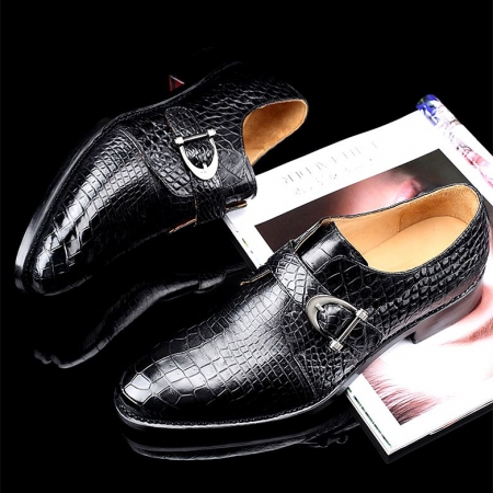 Alligator Leather Single Monk Strap Dress Shoes Oxford Formal Business Shoes-Black-Display