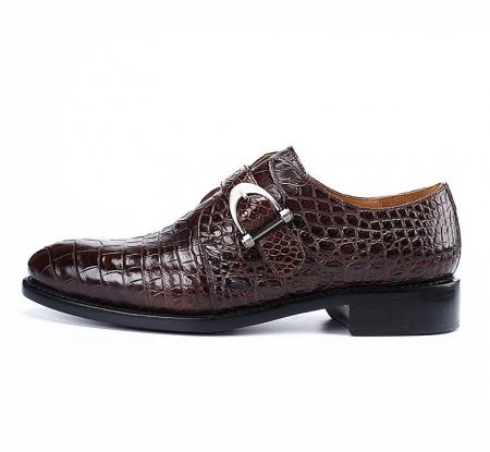 Alligator Leather Single Monk Strap Dress Shoes Oxford Formal Business Shoes-Side