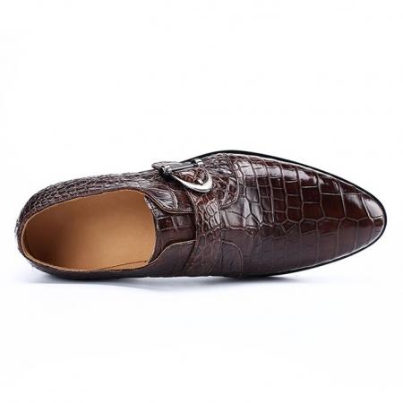 Alligator Leather Single Monk Strap Dress Shoes Oxford Formal Business Shoes-Upper