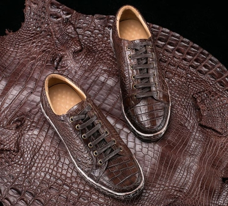 Alligator Leather Sneakers Low Top Mens Fashion Alligator Sneakers-Display
