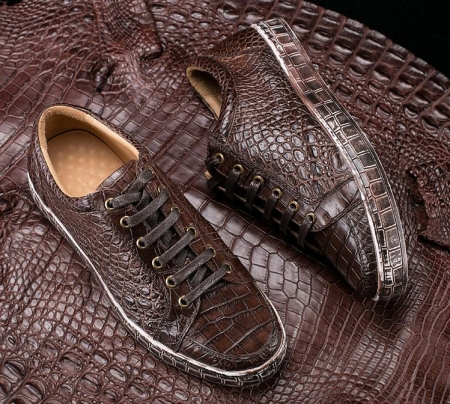 Alligator Leather Sneakers Low Top Mens Fashion Alligator Sneakers for Men