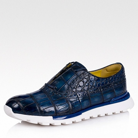 Alligator Leather Walking Sneakers-Blue