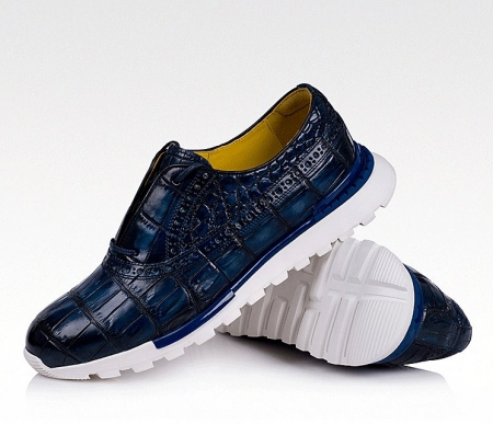 Alligator Leather Walking Sneakers-Blue-Display