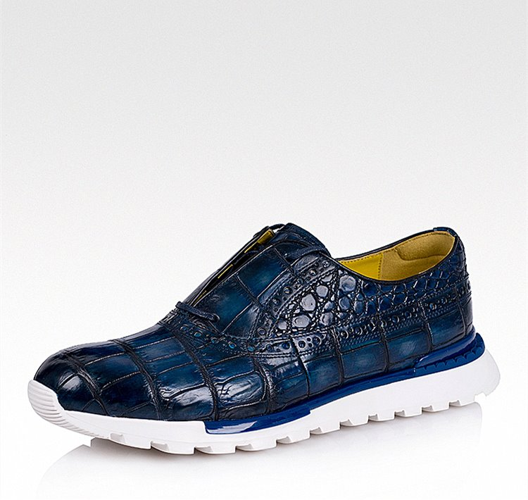 detailing 043fc 5acb9 Alligator Leather Walking Sneakers Lightweight Running Shoes