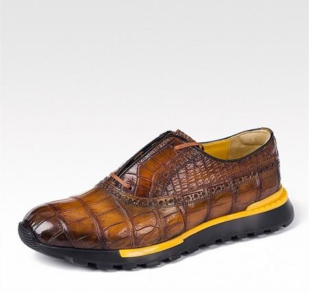 Alligator Leather Walking Sneakers-Brown