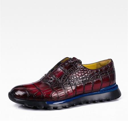 Alligator Leather Walking Sneakers-Burgundy