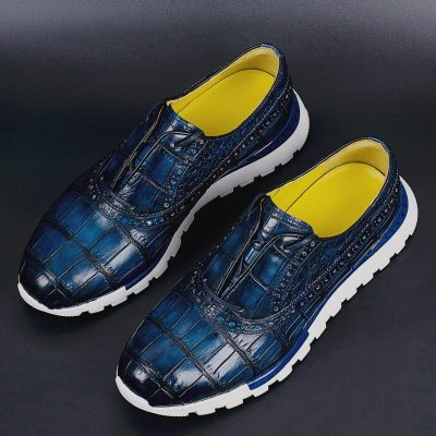 Alligator Leather Walking Sneakers Lightweight Running Shoes-Blue