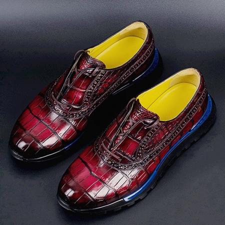 Alligator Leather Walking Sneakers Lightweight Running Shoes-Burgundy
