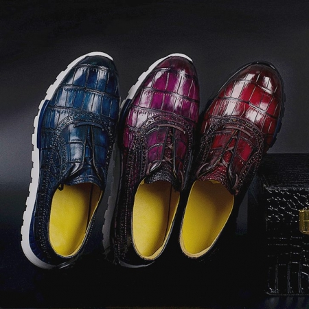 Alligator Leather Walking Sneakers Lightweight Running Shoes-Display