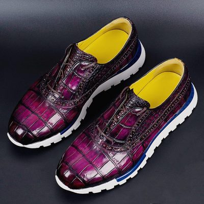 Alligator Leather Walking Sneakers Lightweight Running Shoes-Purple