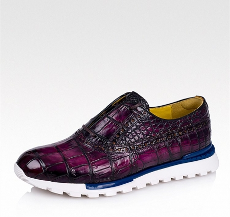 Alligator Leather Walking Sneakers-Purple