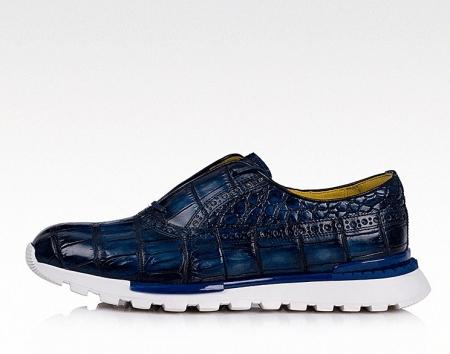 Alligator Leather Walking Sneakers-Side