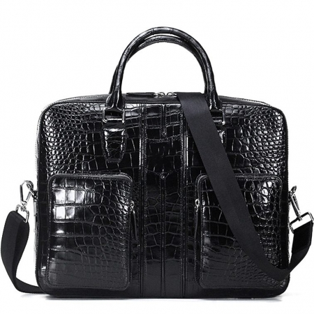 Alligator Messenger Bag Shoulder Bag Business Briefcase for Men-Black