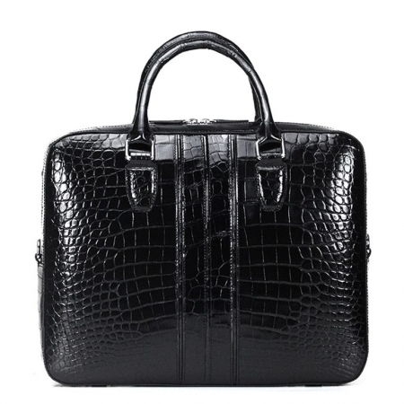 Alligator Messenger Bag Shoulder Bag Business Briefcase for Men-Black-Back