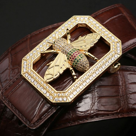 Alligator Skin Belt-Bee Pattern Pin Buckle-Golden