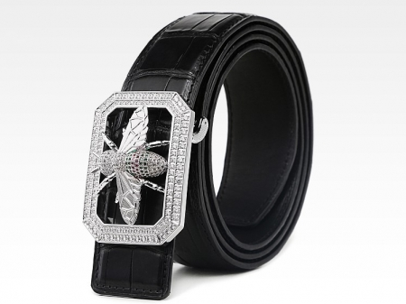 Alligator Skin Belt with Natural Zircons and Bee Pattern Pin Buckle-Black-1