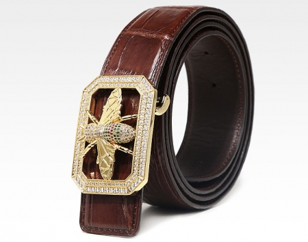 Alligator Skin Belt with Natural Zircons and Bee Pattern Pin Buckle-Brown-1