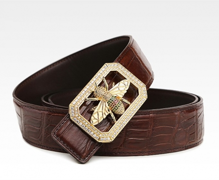 Alligator Skin Belt with Natural Zircons and Bee Pattern Pin Buckle-Brown