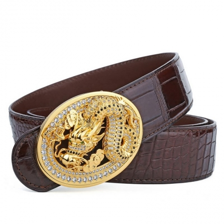 Alligator Skin Belt with Natural Zircons and Dragon Pattern Pin Buckle