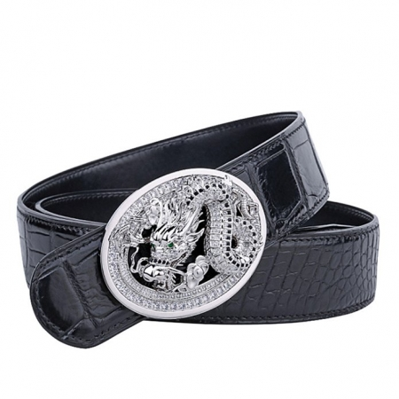 Alligator Skin Belt with Natural Zircons and Dragon Pattern Pin Buckle-Black