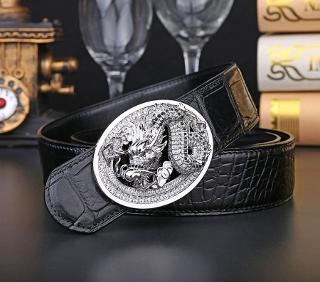 Alligator Skin Belt with Natural Zircons and Dragon Pattern Pin Buckle-Black-Display