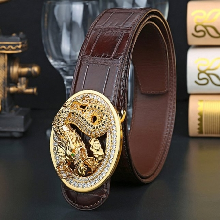 Alligator Skin Belt with Natural Zircons and Dragon Pattern Pin Buckle-Brown-1
