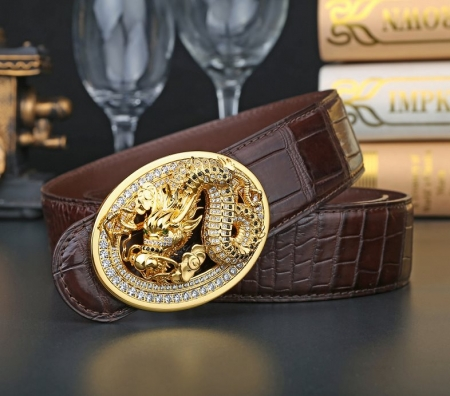 Alligator Skin Belt with Natural Zircons and Dragon Pattern Pin Buckle-Brown-Display