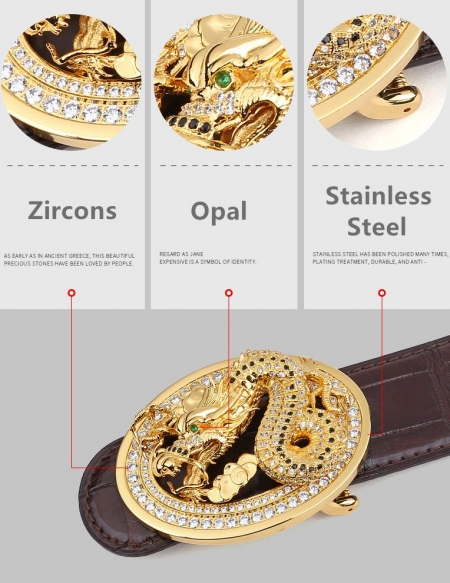 Alligator Skin Belt with Natural Zircons and Dragon Pattern Pin Buckle-Details