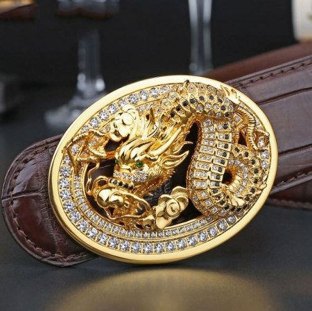 Alligator Skin Belt with Natural Zircons and Dragon Pattern Pin Buckle-Dragon