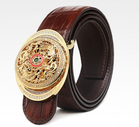 Alligator Skin Belt with Natural Zircons and Fenghuang Pattern Pin Buckle-1