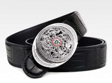 Alligator Skin Belt with Natural Zircons and Fenghuang Pattern Pin Buckle-Black