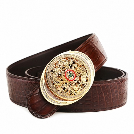 Alligator Skin Belt with Natural Zircons and Fenghuang Pattern Pin Buckle-Brown