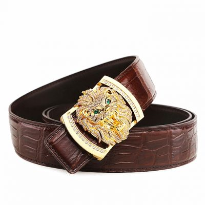 Alligator Skin Belt with Natural Zircons and Lion Pattern Pin Buckle