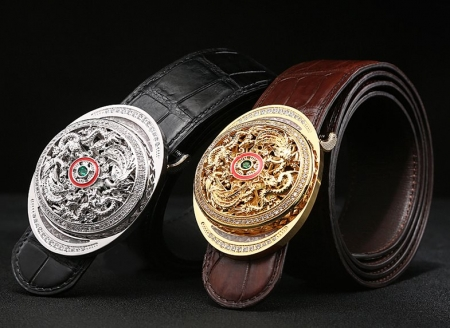 Alligator Skin Belts with Natural Zircons and Fenghuang Pattern Pin Buckle