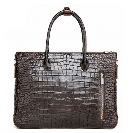 Casual Alligator Leather Padlock Briefcase Shoulder Cross-body Laptop Business Bag-Back