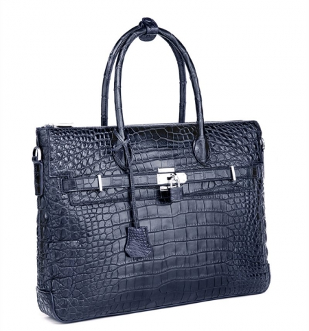 Casual Alligator Leather Padlock Briefcase Shoulder Cross-body Laptop Business Bag-Blue-1