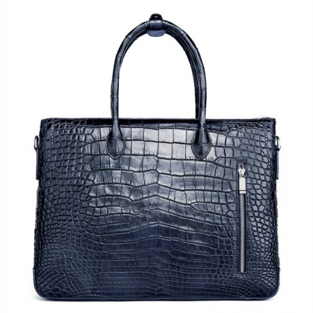 Casual Alligator Leather Padlock Briefcase Shoulder Cross-body Laptop Business Bag-Blue-Back