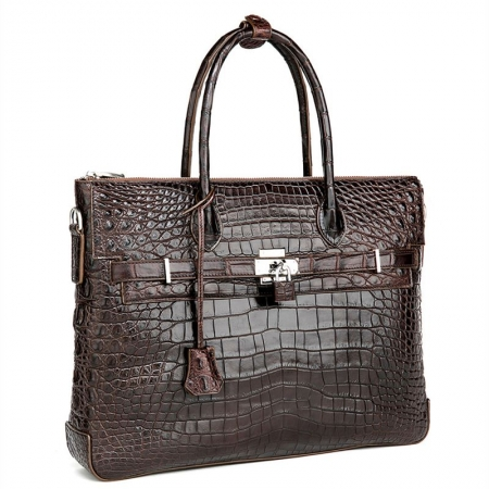 Casual Alligator Leather Padlock Briefcase Shoulder Cross-body Laptop Business Bag-Brown