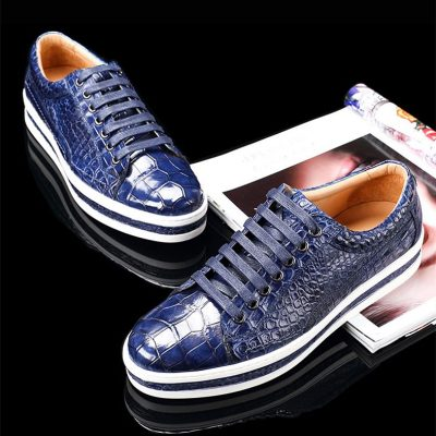 Casual Alligator Leather Shoes Alligator Leather Lace Up Sneakers for Men-Blue