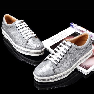 Casual Alligator Leather Shoes Alligator Leather Lace Up Sneakers for Men-Gray