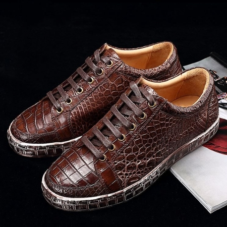 Classic Alligator Leather Sneakers Low Top Mens Fashion Alligator Sneakers