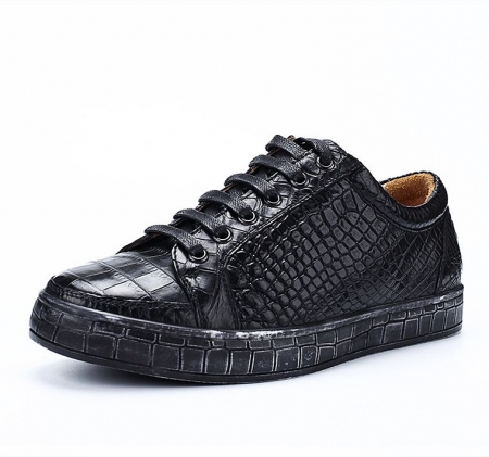 Classic Alligator Leather Sneakers Low Top Mens Fashion Alligator Sneakers-Black