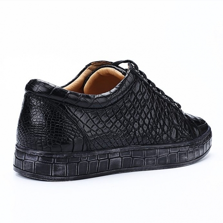 Classic Alligator Leather Sneakers Low Top Mens Fashion Alligator Sneakers-Black-Details