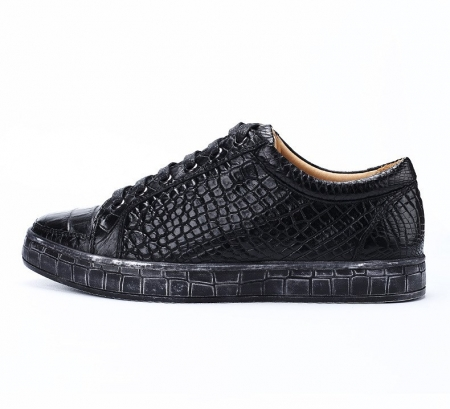 Classic Alligator Leather Sneakers Low Top Mens Fashion Alligator Sneakers-Black-Side
