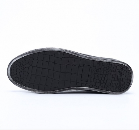 Classic Alligator Leather Sneakers Low Top Mens Fashion Alligator Sneakers-Black-Sole