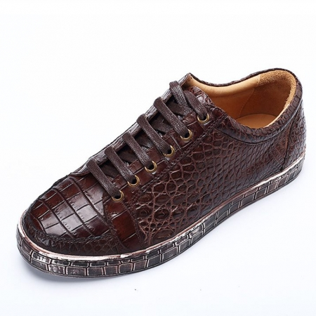 Classic Alligator Leather Sneakers Low Top Mens Fashion Alligator Sneakers-Brown