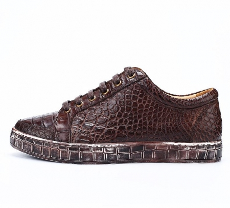 Classic Alligator Leather Sneakers Low Top Mens Fashion Alligator Sneakers-Brown-Side